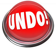 Undo Red Button Correct Fix Go Back Revise Mistake Error Stock Image