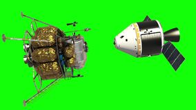 Undocking The Descent Module From The Spacecraft. Green Screen.