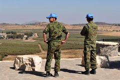 UNDOF soldiers in Golan Heights Stock Images