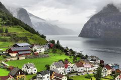 Undredal. Norway fiord landscape - Aurlandsfjord, part of Sognefjord. Town of Undredal Stock Photo