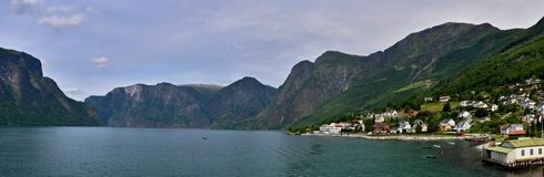 Undredal. Norway-panoramic view from the boat to the city Undredal and Aurlandsfjorden Royalty Free Stock Photos