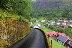 Undredal, Norway. Norway rural landscape. Town of Undredal and a narrow road Stock Images