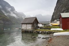 Undredal, Norway. Small fishing harbor by Sognefjord part known as Aurlandsfjord Royalty Free Stock Images
