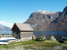 Undredal. In the shore of Aurlandsfjord, Norway Stock Photo