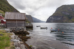 Undredal - a small village on the shore of the Sognefjord. Norway. Undredal - a small village on the shore of one of the branches of the largest fjord in Norway Royalty Free Stock Photos