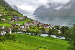 Undredal, Sognefjord. Norway fiord landscape - Aurlandsfjord, part of Sognefjord. Town of Undredal Royalty Free Stock Image