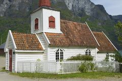 Undredal Stave church exterior in Undredal, Norway. Built in 12th century, it is the smallest church in Norway Stock Photo