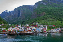 Undredal village. At Aurland fjord, Norway Stock Photography