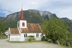 Undredal梯级教会外部在Undredal,挪威 图库摄影