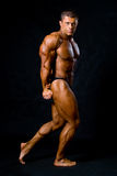 Undressed tanned bodybuilder demonstrates his arms and legs musc Royalty Free Stock Photography