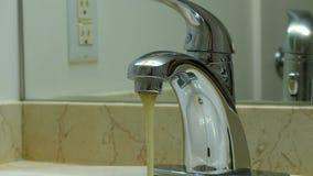 Undrinkable water sink closeup stock video