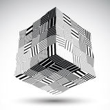 Undulate squared eps8 contrast object with black parallel lines. Stock Photos