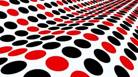 Undulated plane with circles in red and black on white. In backgrounds stock footage