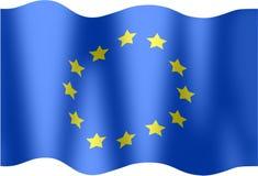 Undulating flag  European Union. Illustration of a flag of the European Union to the wind Stock Photography