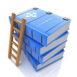 Une échelle sur la pile de livres 3d Image libre de droits