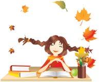 Une écolière rêvante devant des livres illustration de vecteur