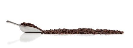 Une épuisette argentée avec des grains de café sur le blanc photo libre de droits