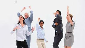 Une équipe enthousiaste d'affaires Images stock