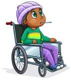 Une équitation d'homme de couleur sur un fauteuil roulant Photographie stock libre de droits