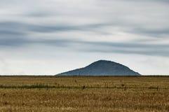 Une étendue de champ derrière laquelle une colline est vue sous un ciel bleu clair photo stock