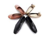 Une étoile faite de composition en chaussures, sur le blanc Photo libre de droits