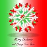 Une étoile rouge blanche verte simple de Noël, sur le fond avec des couleurs inspirée par le drapeau italien, avec des salutation Photographie stock libre de droits