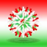 Une étoile verte blanche rouge simple de Noël avec une ombre sur le fond, sur le fond avec des couleurs inspirée par le drapeau h Photographie stock libre de droits
