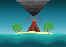 Une île en mer avec des palmiers et un volcan illustration libre de droits