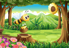 Une abeille portant un pot de miel à la forêt Images stock