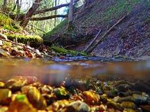 Une absorption d'eau du fond et d'eau par un courant photo stock