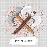 Une affiche avec le combat de slogan ou meurent avec des armes et des gouttes de sang Vecteur illustration de vecteur