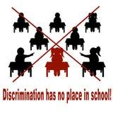 Une affiche réclamant l'anti-discrimination à l'école illustration stock