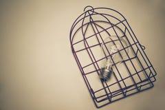 Une ampoule dans une cage photo stock