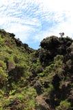 Une arête volcanique rocailleuse aux Açores Photos stock