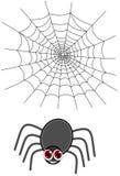 Une araignée avec un Web Image stock