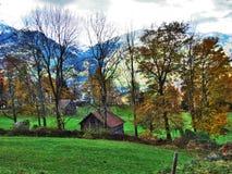 Une atmosphère en retard d'automne sur des pâturages et des fermes dans la vallée de la rivière de Seez et sur le plateau de mont image libre de droits