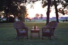 Une aube de delta pour deux sur la pelouse à la plantation d'avant-guerre de Belmont photo stock
