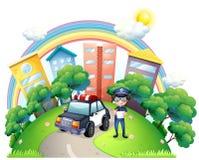 Une autorité avec sa voiture à la route illustration libre de droits