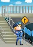 Une autorité du trafic se tenant près d'un avant-poste illustration stock