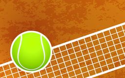 Une balle de tennis et un Clay Court Background Illustration de Vecteur