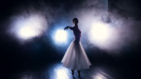 Une ballerine danse dans le brouillard artificiel d'étape banque de vidéos