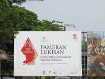 Une bannière au National Gallery de l'Indonésie Image libre de droits