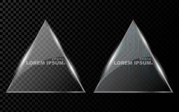 Une bannière d'une triangle réaliste plate avec des coins pointus, un hexagone et de briller, verre 3d lumineux sur un Ba transpa Photographie stock libre de droits