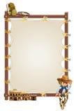 Une bannière vide de cadre avec un cowboy et des barres de salle Photographie stock