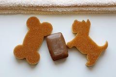 Une barre brune de savon, une serviette beige et gant de toilette deux sous forme de chien et d'os Vue sup?rieure photographie stock libre de droits