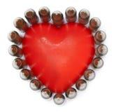 D'isolement 5,56 balles avec le coeur Image stock