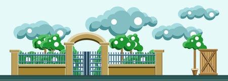 Une barrière d'un parc avec des arbres et des nuages dans le ciel Vecteur plat Photographie stock