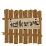 Une barrière faite de bois Plat appelant pour protéger la nature Satire, illustration d'humeur illustration libre de droits