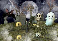 Une batte amicale, un chat noir, un squelette, un fantôme de feuille et des potirons de Halloween dans un cimetière illustration stock