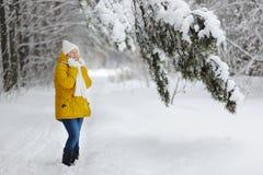 Une belle femme dans une forêt d'hiver Photographie stock